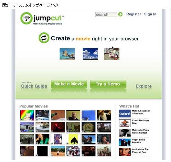図2 jumpcutのトップページ(※)