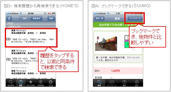 検索履歴から再検索できる(HOME'S) ブックマークできる(SUUMO)