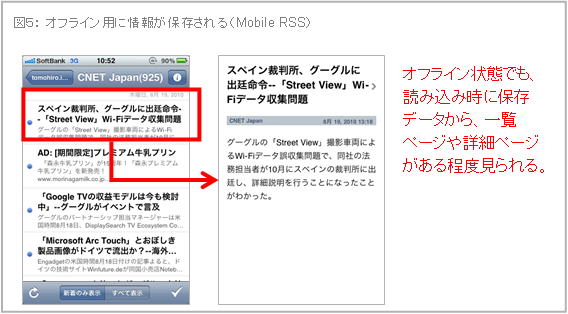 オフライン用に情報が保存される(Mobile RSS)