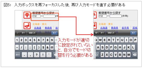 図5: 入力ボックスを再フォーカスした後、再び入力モードを直す必要がある