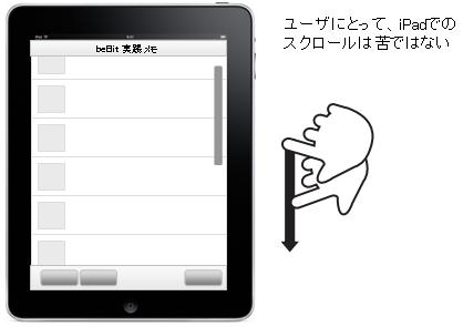 ユーザにとって、iPadでのスクロールは苦ではない