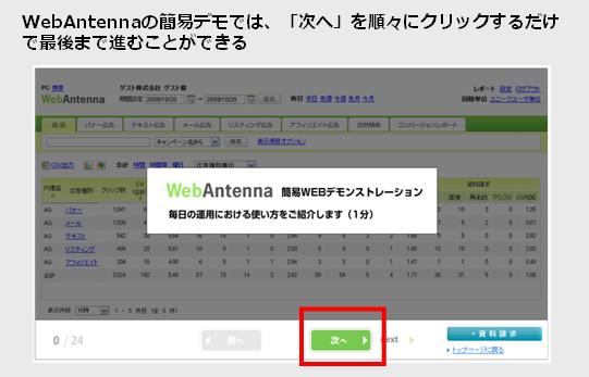 WebAntenna簡易デモ画面例
